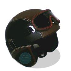 Kreasi Lokal - Helm Retro Style Clasic Kacamata - Hitam Coklat