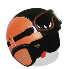 Kreasi Lokal - Helm Retro Style Clasic Kacamata - Tan Hitam