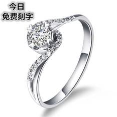 KT S925/18 K Perempuan Produk Asli Berlapis Platinum Cincin Kawin Miniatur Cincin Berlian