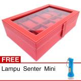 Jual Kualitas Super Kotak Box Jam Tangan Isi 10 Merah Gratis Senter Mini Grosir