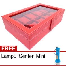 Review Terbaik Kualitas Super Kotak Box Jam Tangan Isi 10 Merah Gratis Senter Mini