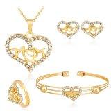 Jual Kuhong 4 Pcs Set Berlian Imitasi Unik Hollow Ibu Kalung Anting Gelang Cincin Perhiasan Intl Lengkap