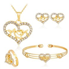 Kuhong 4 Pcs/set Berlian Imitasi Unik Hollow IBU Kalung Anting Gelang Cincin Perhiasan-Intl
