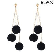 Kuhong Fashion Earrings Multi Layer Rumbai Rambut Ball Multi-warna Perempuan Earrings-Intl