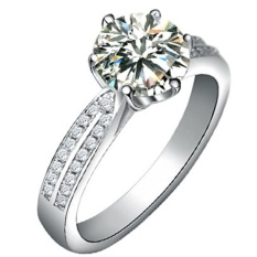 Kuhong Wanita Eropa Luxury Platinum Berlapis Diamond Ring S925 Silver Ring Silver-Intl