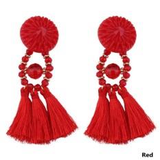 Kuhong Rumbai Panjang Earrings Wanita Long Drop Jumbai Fringe Dangle Earrings Gaya Timur-Intl By