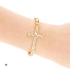 Kuhong Moden Design Rhinestone Cross Love Infinity Stretch Beaded Bracelet Gift - intl