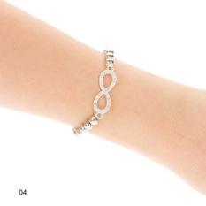 Kuhong Moden Desain Berlian Imitasi Cross Love Infinity Peregangan Beaded Gelang Hadiah-Intl