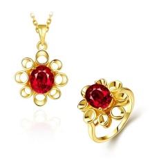 Kundan Perhiasan Online Women Klasik Tembaga Partai Bridal Perhiasan Set Kalung Ring Tanaman Berlapis Emas-Internasional