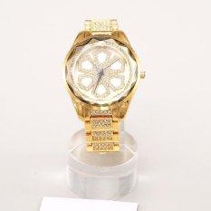 KuRun Ladies Casual Fashion QUARTZ Watch Shell Permukaan Pemangkasan Glass Diamond Tebal Dial Besar Meja Jaminan Kualitas (Emas) -Intl