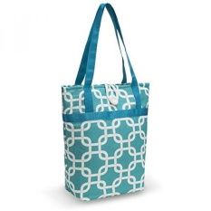 Kuzy - Aqua Blue Chain Travel Tote Bag Cotton Handmade 16-inch for MacBook and Laptop, Book Bags - Aqua