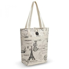 Kuzy - PARIS Travel Tote Bag Cotton Handmade 16-inch for MacBook and Laptop, Book Bags - Paris