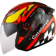KYT Galaxy Slide Catalunya GP RC Helm Half Face - Red Fluo Black
