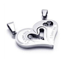 Diskon Produk La Vie Some Stainless Steel Love Heart Jigsaw Pendant Necklace Silver