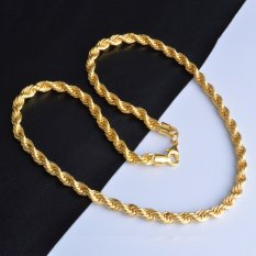 Jual La Vie Gold Plating Gold Rope Chain Necklace Twisted Necklace Gold Di Tiongkok