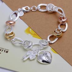 La Vie Perak 925 Batu Hias Bunga Gantung Hati Kunci Gantungan Kunci Gelang Putih International Oem Diskon 40