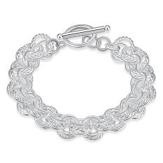 La Vie Perak 925 Tiga Lingkaran Bulat Gelang Rantai (Putih)