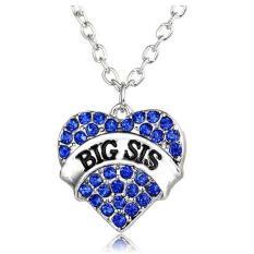 Sesuai Besar Sis Hati Kristal Liontin Kalung Perhiasan Hadiah Untuk Adik Kecil Teman Baik Gadis Remaja Wanita (biru) LALANG