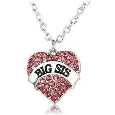 Sesuai Besar SIS Hati Kristal Liontin Kalung Perhiasan Hadiah For Adik Kecil Teman Baik Gadis Remaja Wanita (berwarna Merah Muda) LALANG