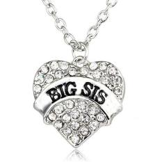 Sesuai Besar Sis Hati Kristal Liontin Kalung Perhiasan Hadiah Untuk Adik Kecil Teman Baik Gadis Remaja Wanita (putih) LALANG