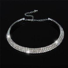 Beli Lalang Baru Wanita Kristal Rhinestone Kalung Crew Neck Perhiasan 3 Baris Crystal Lalang Dengan Harga Terjangkau