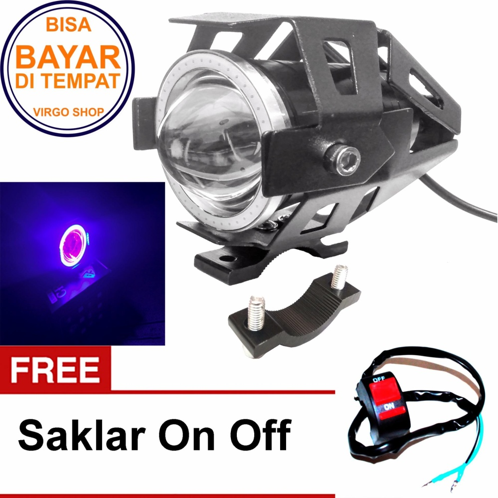 Lampu Tembak Led U7 Besar Sorot Putih + Eagle Biru - Devil Merah + Bonus Saklar On Off By Virgo Shop.
