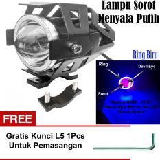 Lampu Tembak LED U7 Besar Sorot Putih + Eagle Eyes Ring Biru dan Devil Merah + Bonus Kunci L-5 Untuk Pemasangan