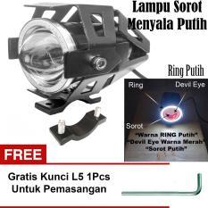 Lampu Tembak LED U7 Besar Sorot Putih + Eagle Eyes Ring Putih dan Devil Merah + Bonus Kunci L-5 Untuk Pemasangan