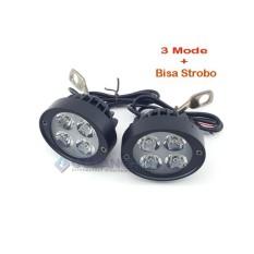 Lampu Tembak Sorot LED U3 Spion Motor Cree 4 Mata 12W Spotlight Strobo