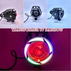 Lampu Tembak U7 LED Pelangi - Tipe: RainBow U7 Besar Sorot Putih + Eagle Eyes Ring RainBow dan Devil Merah + Bonus Kunci L-5 Untuk Pemasangan