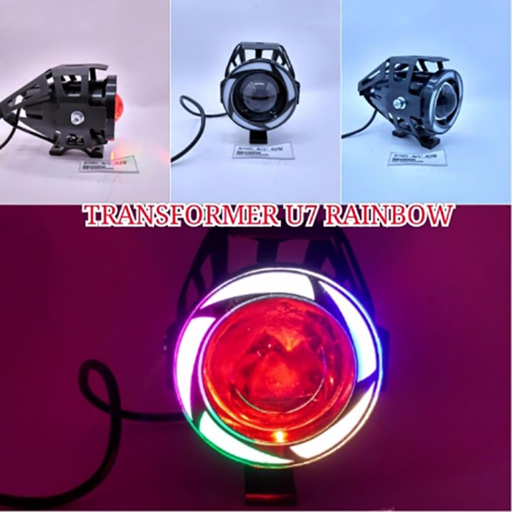 Lampu Tembak U7 Led Pelangi - Tipe: Rainbow U7 Besar Sorot Putih + Eagle Eyes Ring Rainbow Dan Devil Merah + Bonus Kunci L-5 Untuk Pemasangan By Virgo Shop.