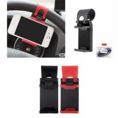 Lanjarjaya Car holder stir mobil universal HP clip mount Steer Wheel Cars - Random
