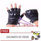 Diskon Produk Lanjarjaya Sarung Tangan Motor Kulit Half Batok Model Protektor Kevlar Warna Hitam Kaca Mata Hd Vision Ask Vision 1 Box Isi 2