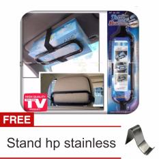 Lanjarjaya Smart Tissue Box Holder/Tempat Tissue Mobil Gantung - Hitam + Stand Hp Stainless