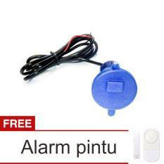 Lanjarjaya USB Charger Motor Waterproof Cas HP di motor - Biru + Alarm Pintu