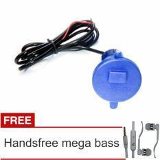 Lanjarjaya USB Charger Motor Waterproof Cas HP di motor - Biru + Handsfree Mega Bass