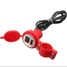 Lanjarjaya USB Charger Motor Waterproof Cas HP di motor - Merah