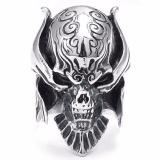 Harga Besar Biker Pria Gothic Dikotori Skull Stainless Steel Ring Hitam Silver Terbaik