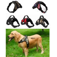 Anjing Besar Traksi Tali Dada dan Tali Belakang Adjustable Harness Nyaman Persediaan Hewan-Hitam (