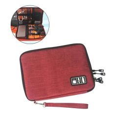 Promo Besar Aksesoris Elektronik Organizer Earphone Kabel Usb Flash Drives Digital Data Penyimpanan Kantung Bag Case Merah Intl