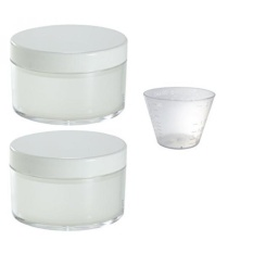 Large Powder Sifter Empty Refillable Cosmetic Makeup Jar (2 Pack) - 3 oz / 80 ml / 85 grams + Measuring Cup