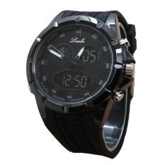 Lasebo Dual Time Jam Tangan Pria Rubber Strap Lsb 6225 Fb Asli
