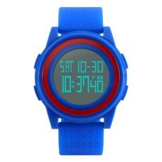 Model Terbaru Skmei 5Bar Waterproof Ultra Tipis LED Digital Watch Men Blue Tali PU Wanita Olahraga Luar Ruangan Watches Fashion Unisex Jam Tangan 1206 skmei (Biru) -Intl