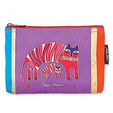 Laurel Burch Classic Felines Cosmetic Bag (Purple/Red D)
