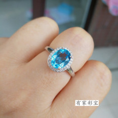 Laut Biru Perempuan 925 Sterling Perak Platinum Permata Cincin Batu Topas Cincin