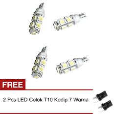 LED 9 Mata Colok Untuk Lampu Motor 4 Pcs - Putih + Gratis 2 Pcs LED Colok Kedip 7 Warna