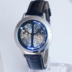 LED Digital Watches Touch Screen Leather Band Couple Sport Wrist Watch Black Tree - intl