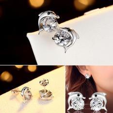 Leegoal Tindik Anting-anting Berlian Kubik Zirkonia Batu Permata Kristal Mata Dolphin 925 Perak 24 K Emas Putih Anti Alergi Bulat untuk Perempuan Fashion Hitam-Internasional