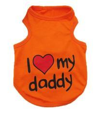 leegoal lucu aku suka anjing peliharaan Ayah dicetak kecil mengenakan t-shirt rompi pakaian anak bermerk (jeruk, L) - International