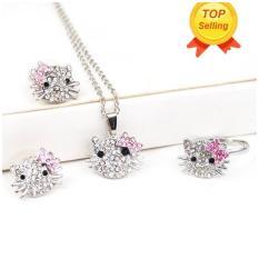 Perhiasan berlian imitasi kristal Leegoal Perak Kitty Mode yang dapat diseuaikan dengan ujung Warna Merah Muda  - sambungan + anting-anting + kalung 3-in-1 set